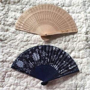 Fancy wood & fabric fan bundle